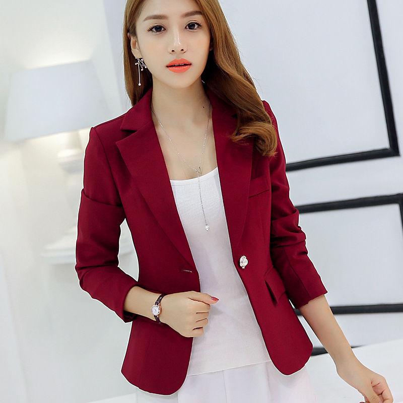 Analytical Notched Wear Female Suits Blazer Casual Slim Long Sleeve Single Button Blazers White Blue Work Formal Jackets Blazer Feminino Suits & Sets Blazers