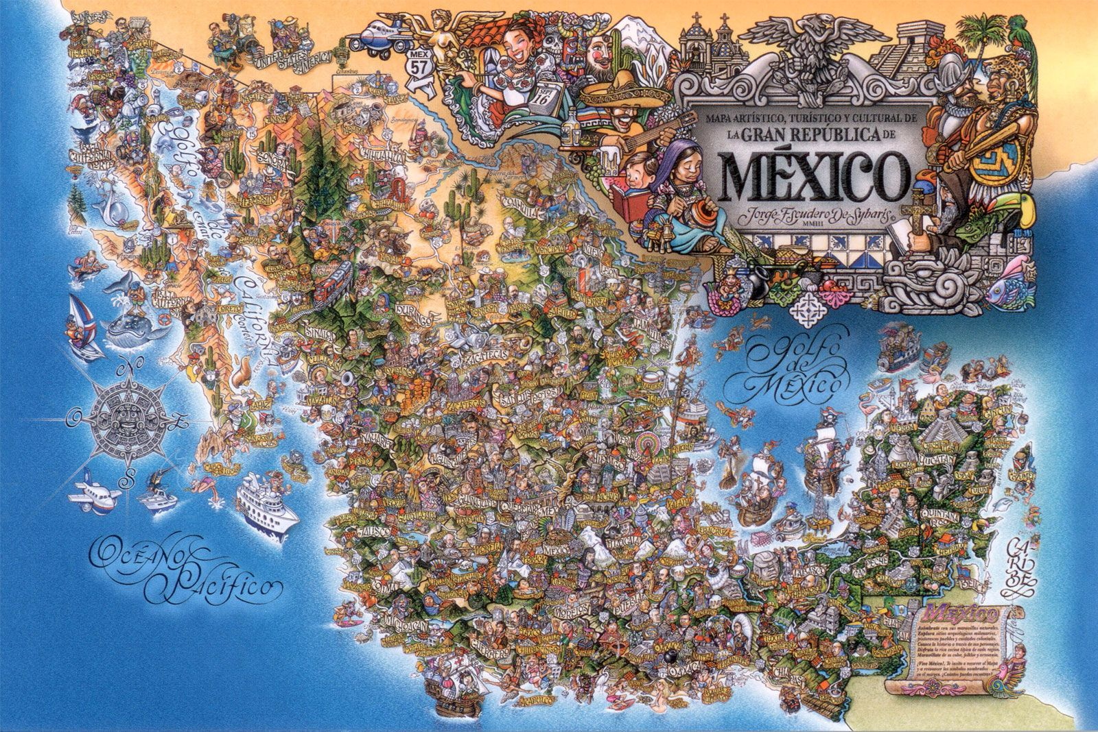cultural and tourist Mexico map