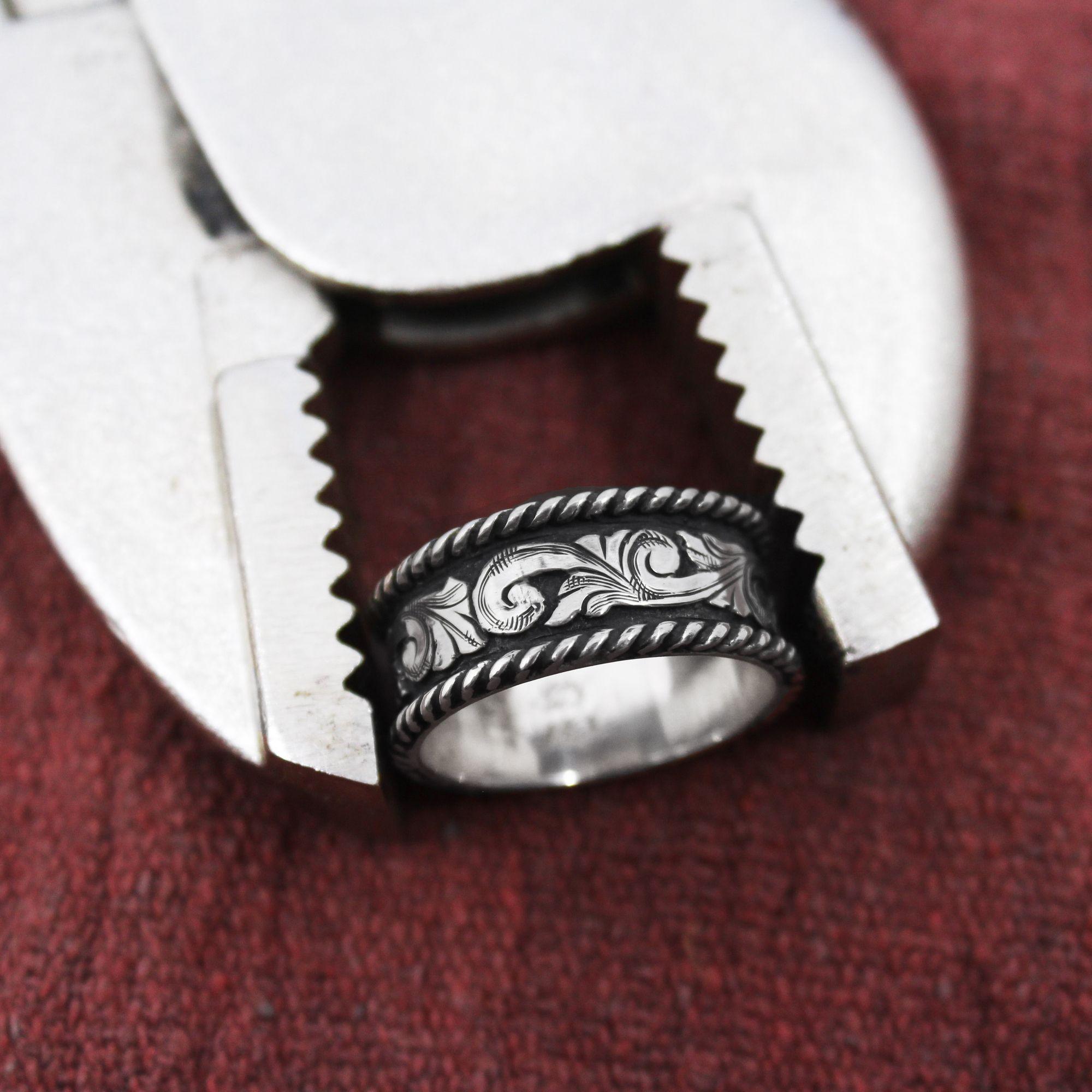 Western Silver & Rope Ring in 2020 Western wedding rings