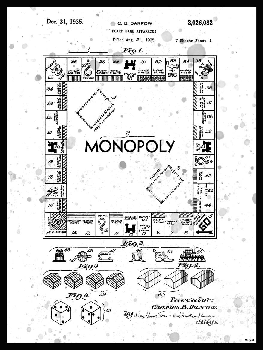 Monopoly the game that started family feuding haha vintage us monopoly patent print monopoly blueprint art by theplayfulpixel malvernweather Choice Image