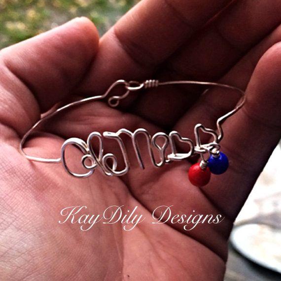 Wire Wrapped Ole Miss Bracelet by KayDilysWrapDesigns on Etsy