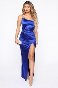 Knotty Girl Satin Maxi Dress - Royal