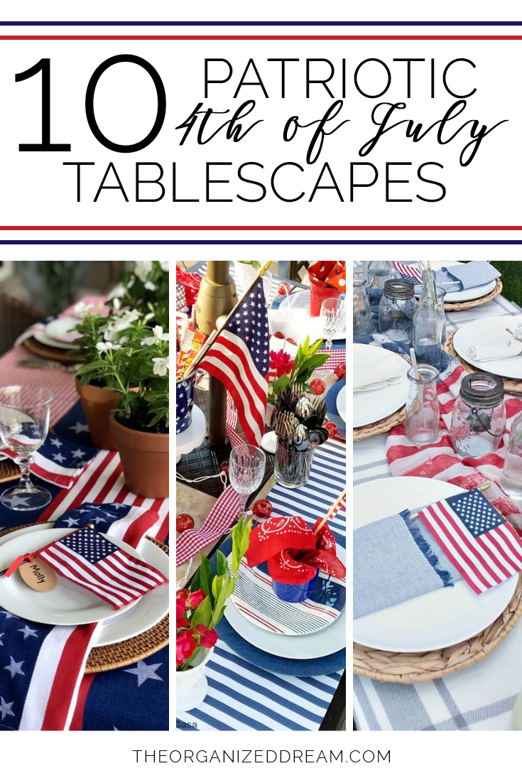 10 Inspiring Patriotic 4th of July Tablescapes  #4thofjuly #patriotic #holiday #holidaydecor #home #homedecor #holidaysinjuly