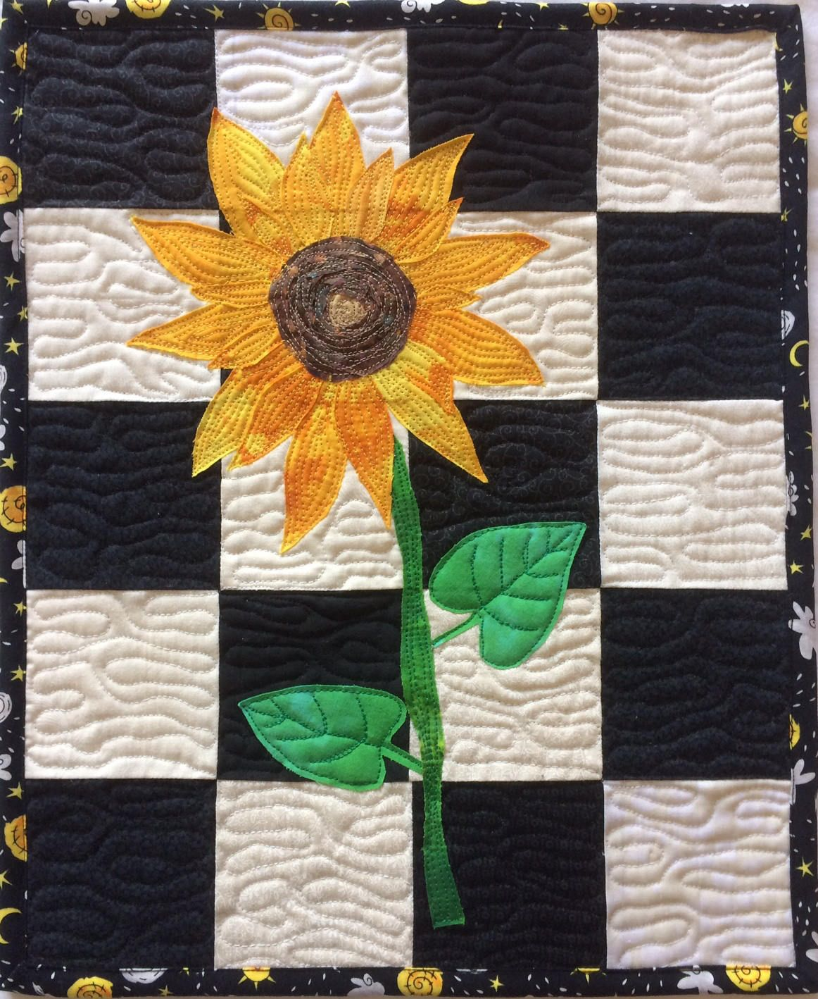 Art quilt sunflower landscape quilt flower quilted wall hanging black and white wall art home decor in black white and yellow by rachelfabricart on etsy