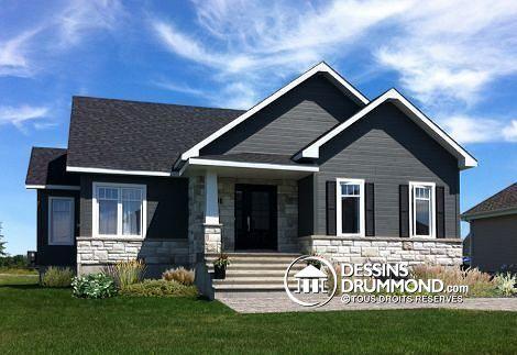 Brique, Porte et volets foncés, coin même couleur vinyle, toit noir