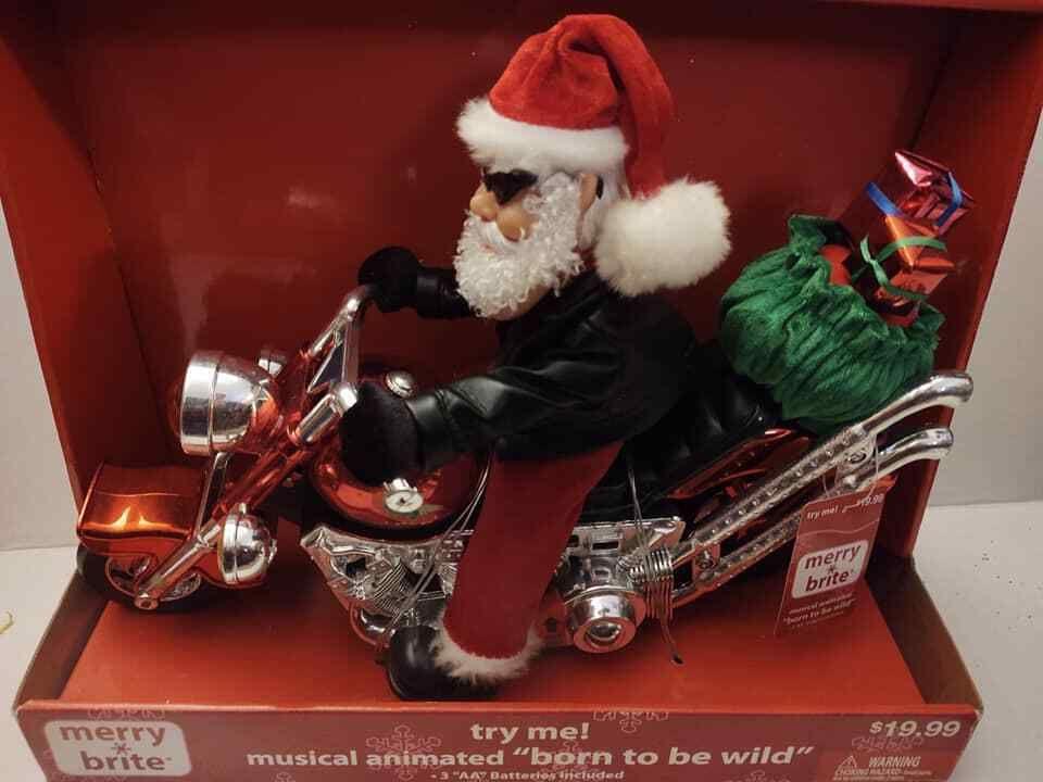 Merry Brite Motorcycle Santa Chopper Christmas Animated Born To Be Wild Song Ebay Animation Merry Santa
