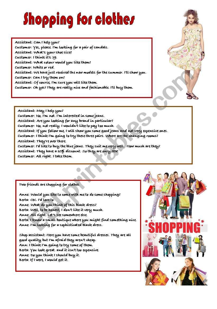 Three Dialogues That Sts Can Role Play Or Read And On The Second Sheet There Is An Exercise For The Sts To Learn English Conversational English Shopping Outfit [ 1169 x 821 Pixel ]