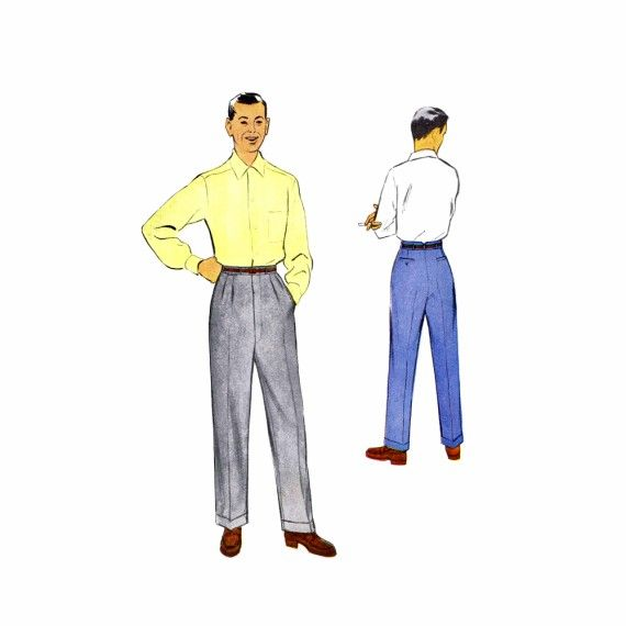 1950s Mens Slacks Pants McCalls 9735 Vintage Sewing
