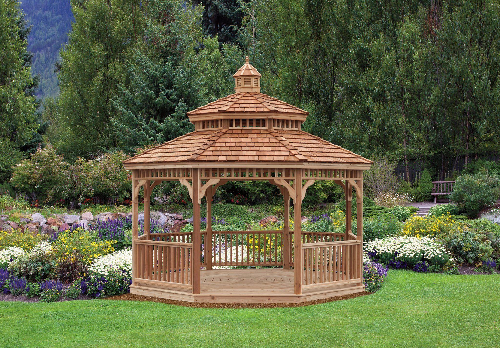 Best Size 14 With Cedar Wood Gazebo Wood Shingles Copper Roof 400 x 300