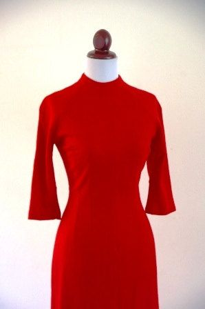 Vintage 1950s Cherry Red Wiggle Dress by RetroKittenVintage, $55.00