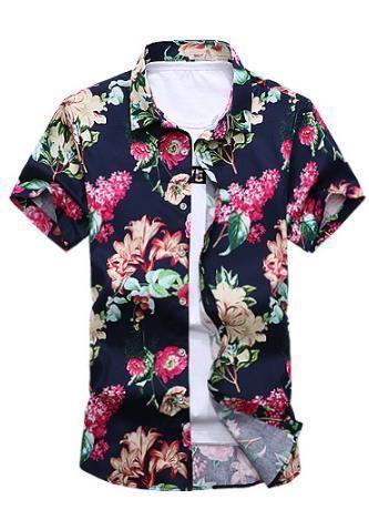 b42778da509b 2017 Short Sleeve Shirt Men Summer Fashion Casual Plus Size Mens  Floralmodkily
