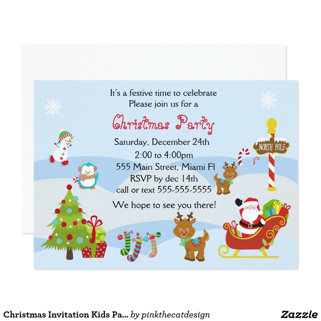 Christmas Invitation Kids Party Snowman Santa | Christmas Party ...