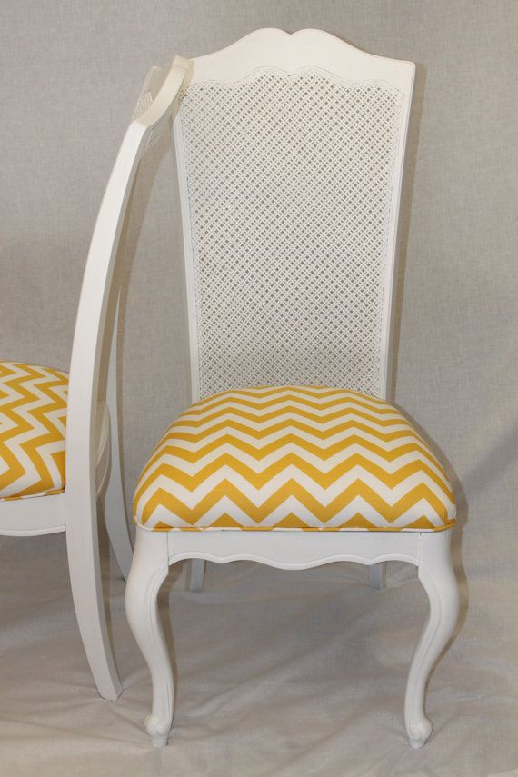 Merveilleux Pair Of Vintage Chic Chairs With Caning And Reupholstered In Yellow And  White Chevron Fabric $380.00
