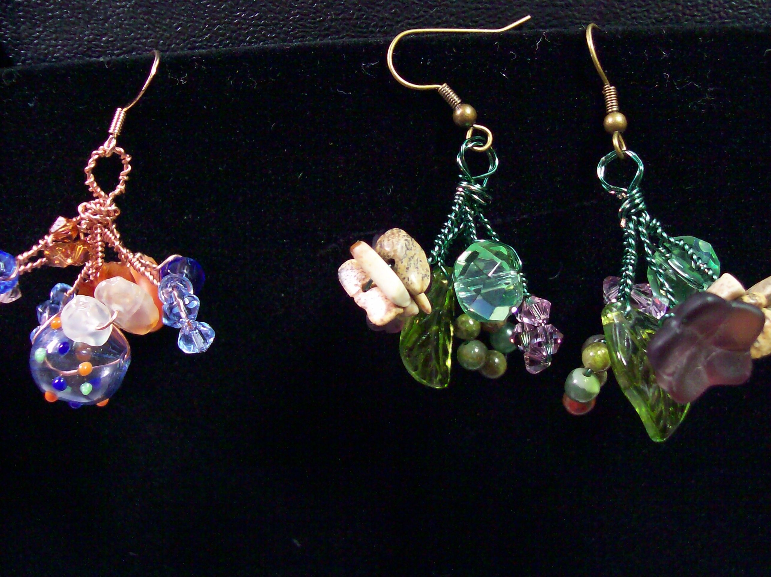 Danish cluster earrings.  I call these garden earrings.  Next to them are the wrokd earrings.