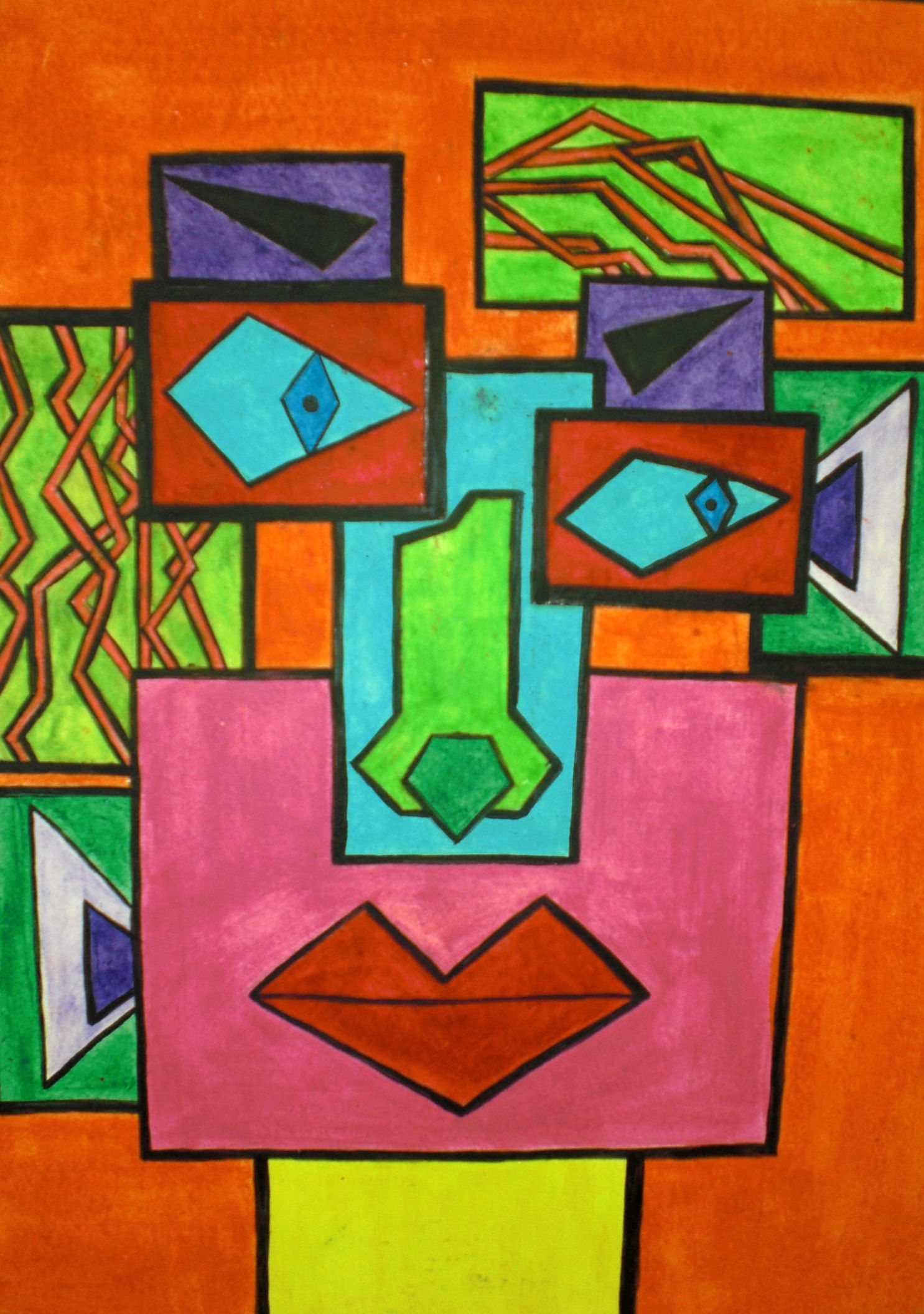 Cubist Self Portrait By Kelsey Smith
