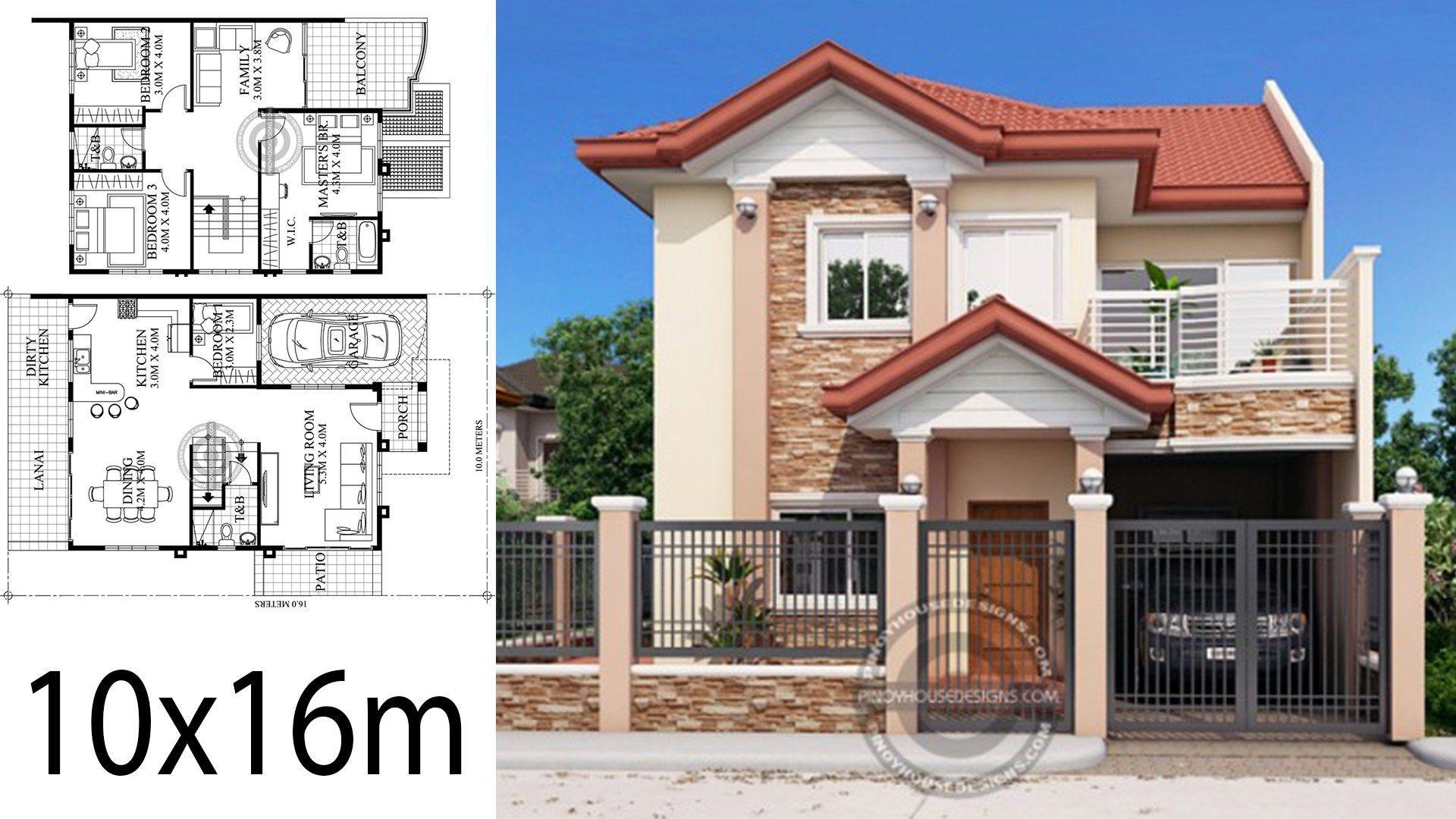 Home Design 10x16m 4 Bedrooms House Description One Car Parking And Gardenground Level Liv Philippines House Design 2 Storey House Design Home Building Design
