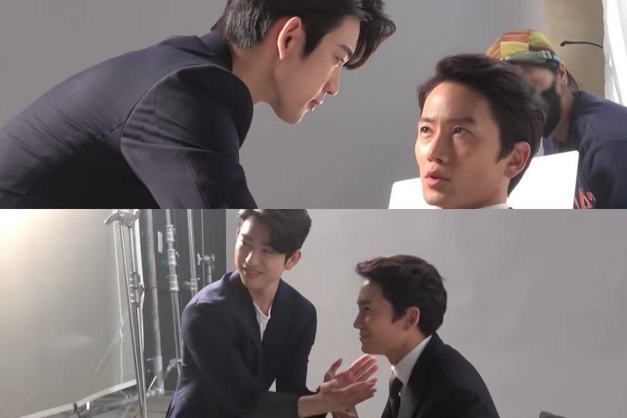 """Watch: Ji Sung And GOT7's Jinyoung Affectionately Tease Each Other In Poster Filming For """"The Devil Judge"""""""