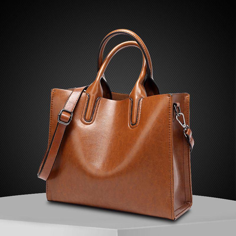 f52799af7b Vintage Genuine Leather Women Bag Premium Cow Leather Lady Big Tote Bag  Brown Black Pink Large Female Handbag For Shopping work