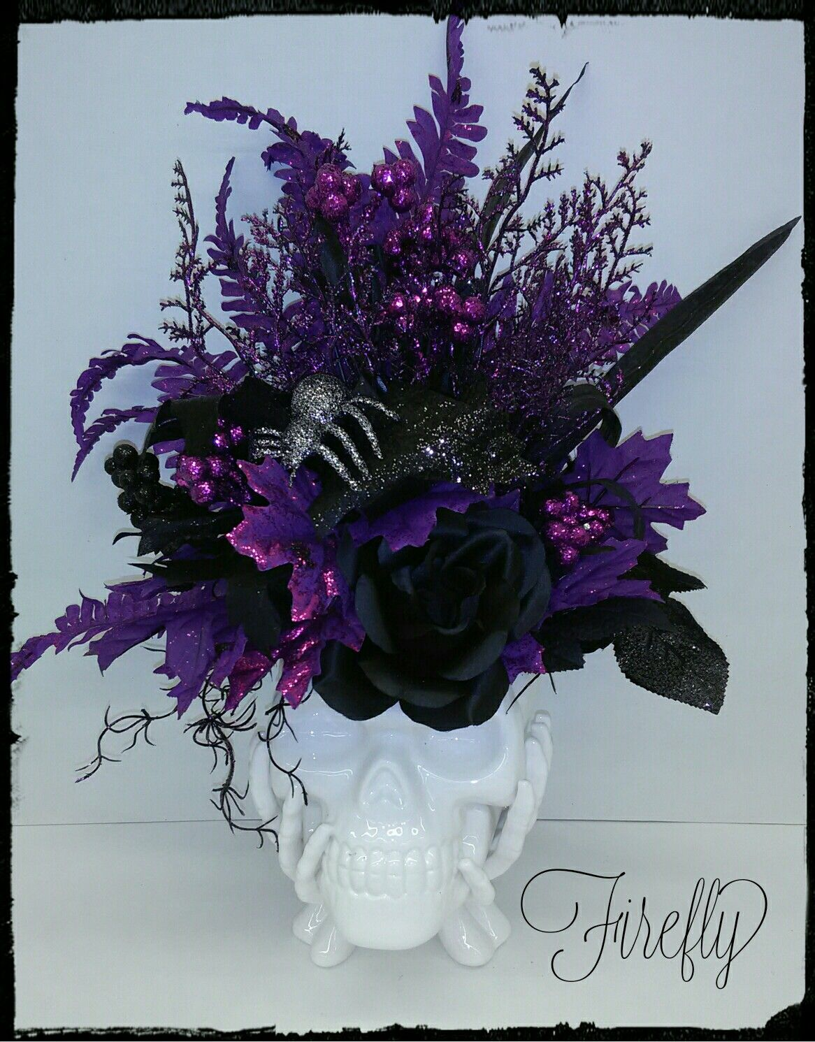 Halloween floral decor purple and white skull by Firefly Dark - Halloween Table Decorations Pinterest