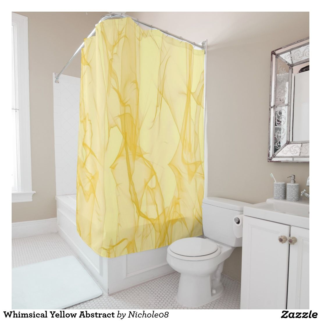 Yellow stripe shower curtain - Whimsical Yellow Abstract Shower Curtain