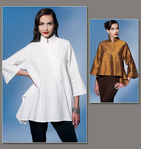 V1274 Very loose-fitting top has collar, low armholes, asymmetrical button closing and three-quarter length sleeves with button drape. Narrow hem. #voguepatterns