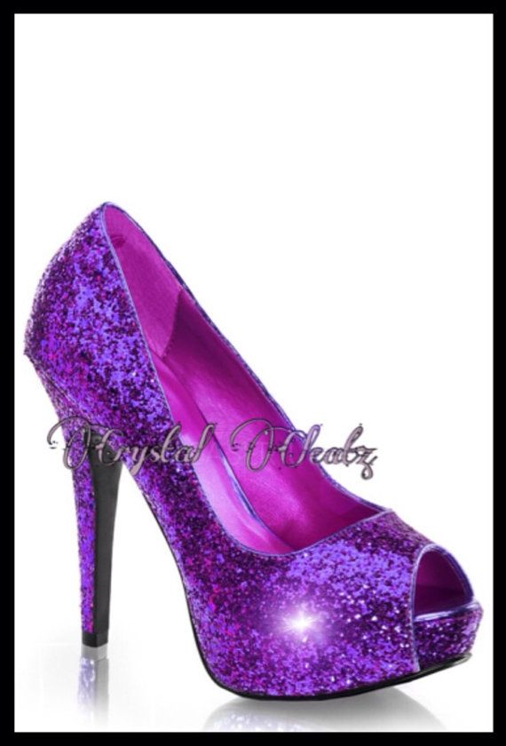 SPARKLY Purple Glitter Heels Heel Stiletto Shoes Gift Party Dance High Peep Toe