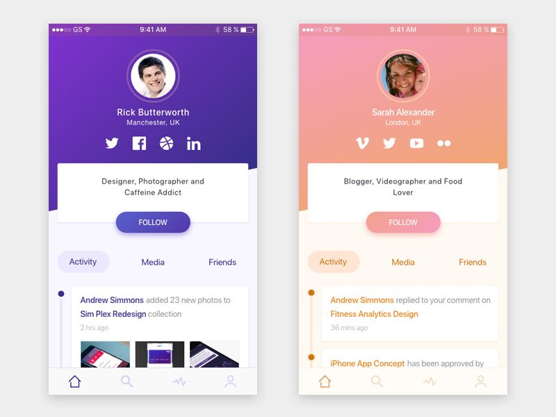 Profile Concept Social App Design Profile App App Design Layout