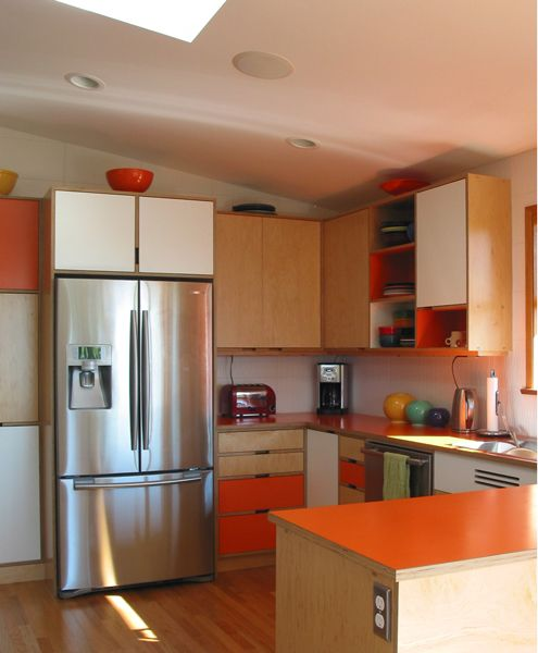 mid-century modern kitchen cabinetskerf design, seattle, wa
