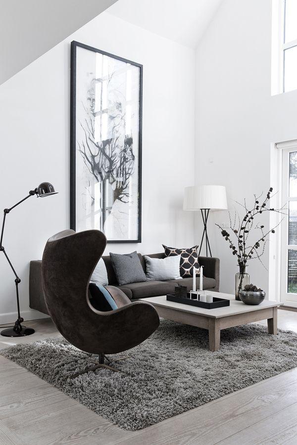 Wohnzimmer Grau Weiß Mit Eggchair