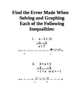Graphing and Solving One-Step Inequalities Station Activity