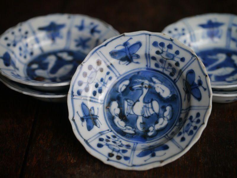 清朝初期 染付小皿 五客 セラミックデザイン 日本の陶器 お皿 おしゃれ