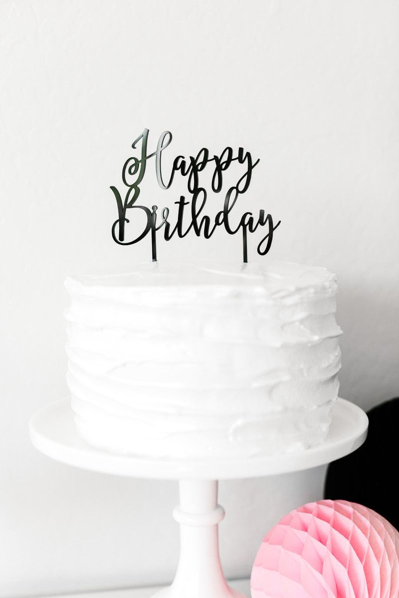 90th Birthday Cake Topper Acrylic Party Decorations Script Ninety White