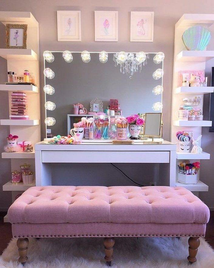 Pretty teenager girl mermaid pastel inspired make-up room ... on Make Up Room Design  id=48133