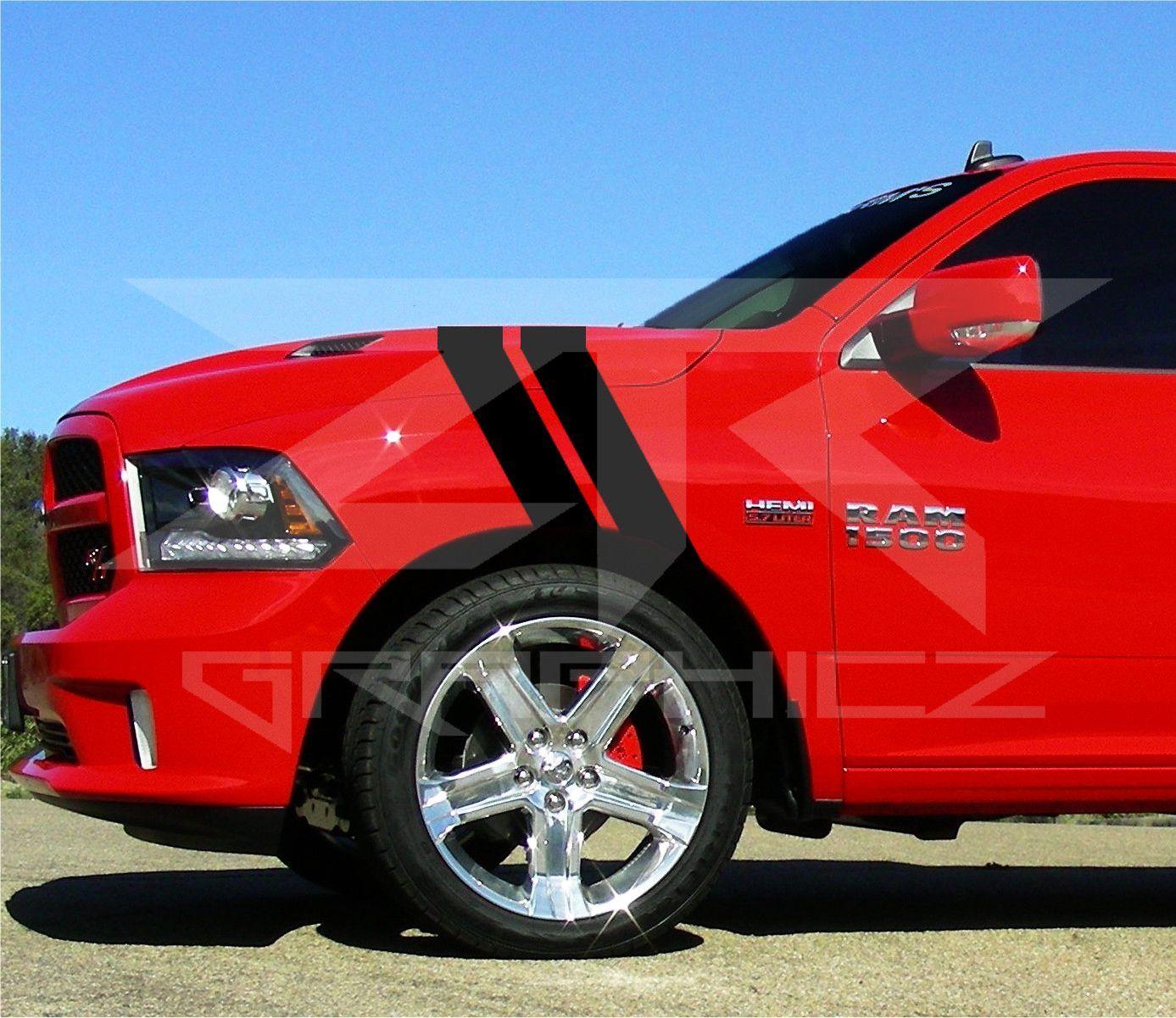 Dodge ram dual fender stripe hash mark rt 1500 stripe decal graphic kit