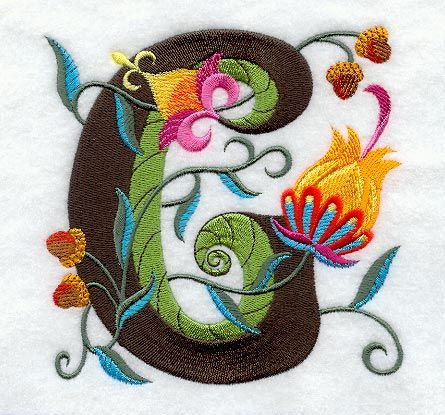 Machine Embroidery Designs at Embroidery Library! - Jacobean Letter G (5 Inch)