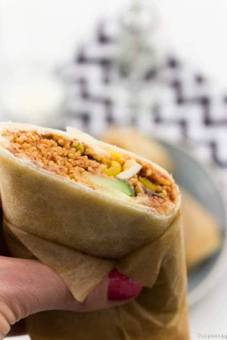 Photo of Wraps filled with couscous and vegetables – tulip day. Food blog.