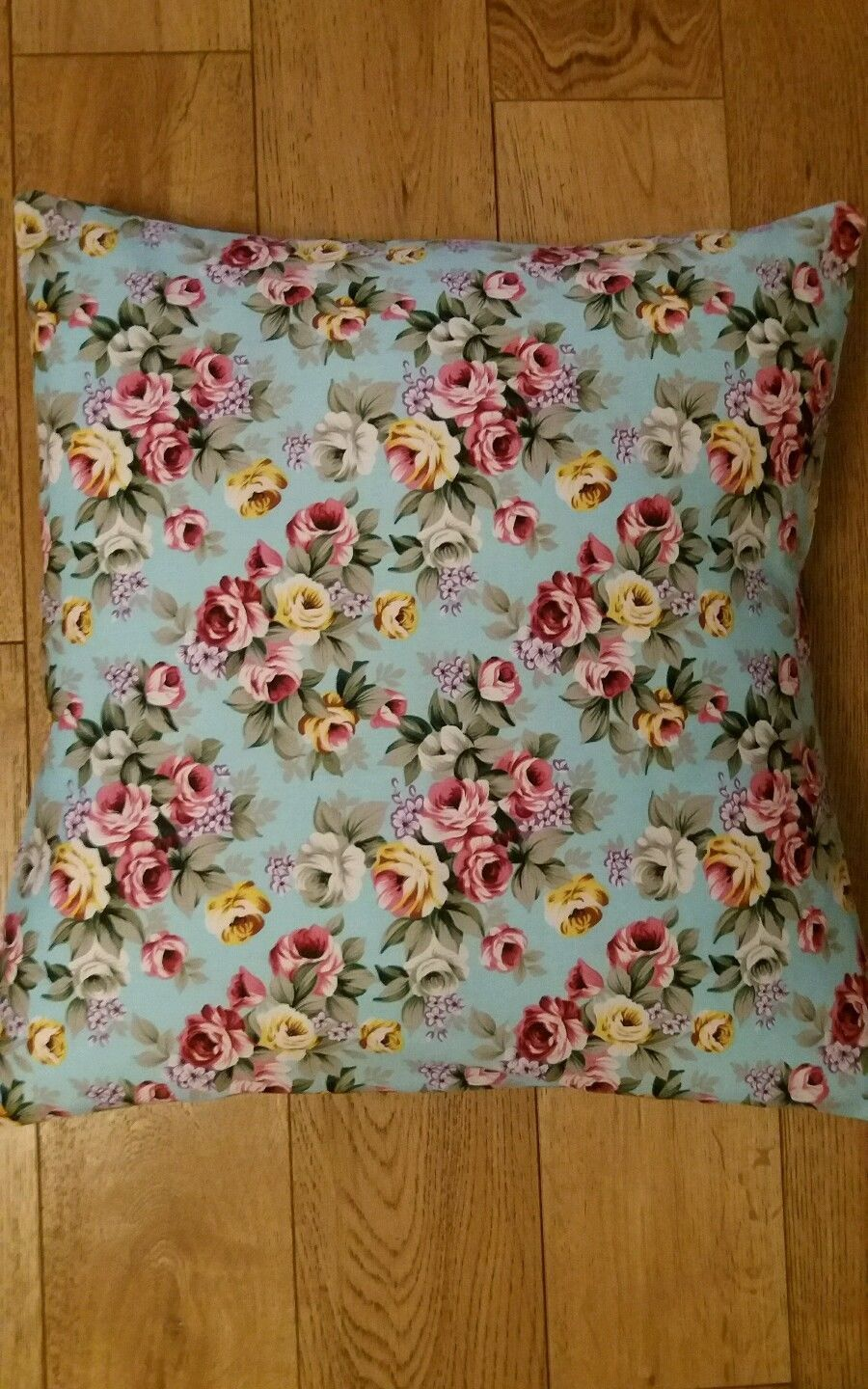 New cushion cover duck egg blue floral and upcycled denim handmade
