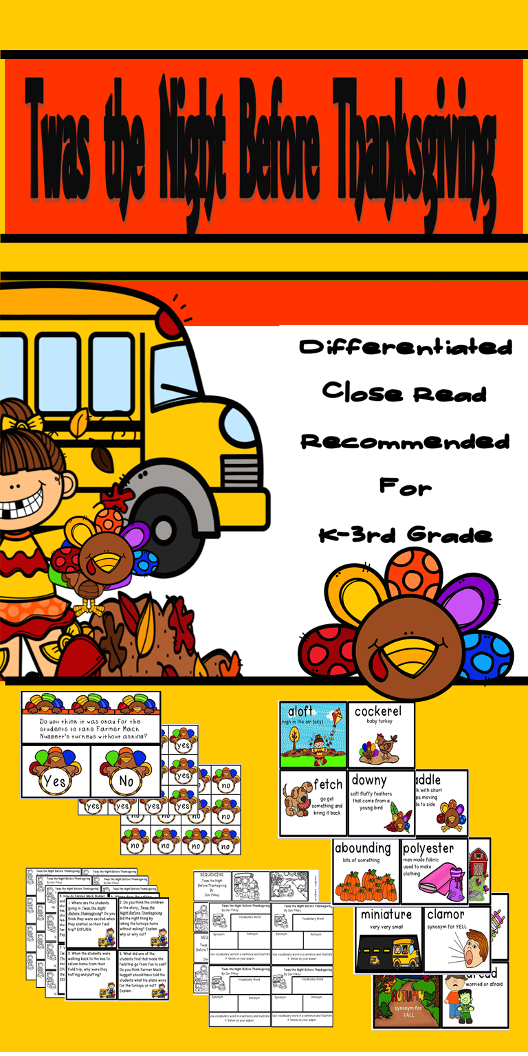 Twas The Night Before Thanksgiving Interactive Read Aloud With