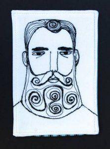 Mimi Kirchner - man face 1 - cotton - $40.00