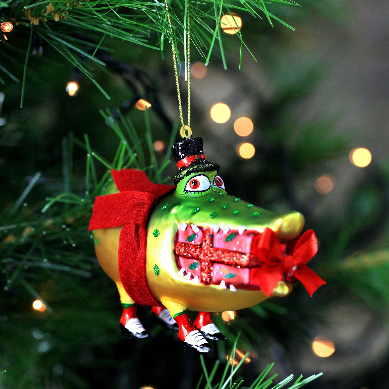 Mr and mrs christmas tree decoration - Mr Mrs Crocodile Glass Christmas Tree Baubles Choose Design