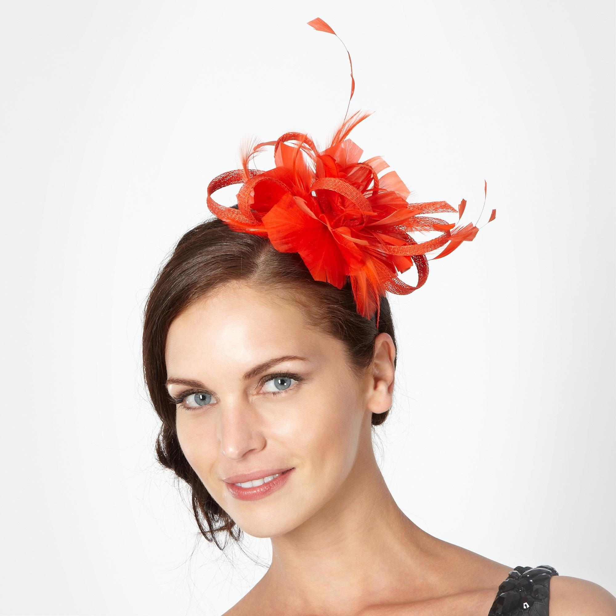 designer orange floral feather headband - hats & fascinators