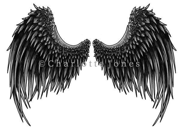 fe9a1fec6 DN Angel Dark Wings drawing | Angel Wings Tattoo by CharlottesTattoos