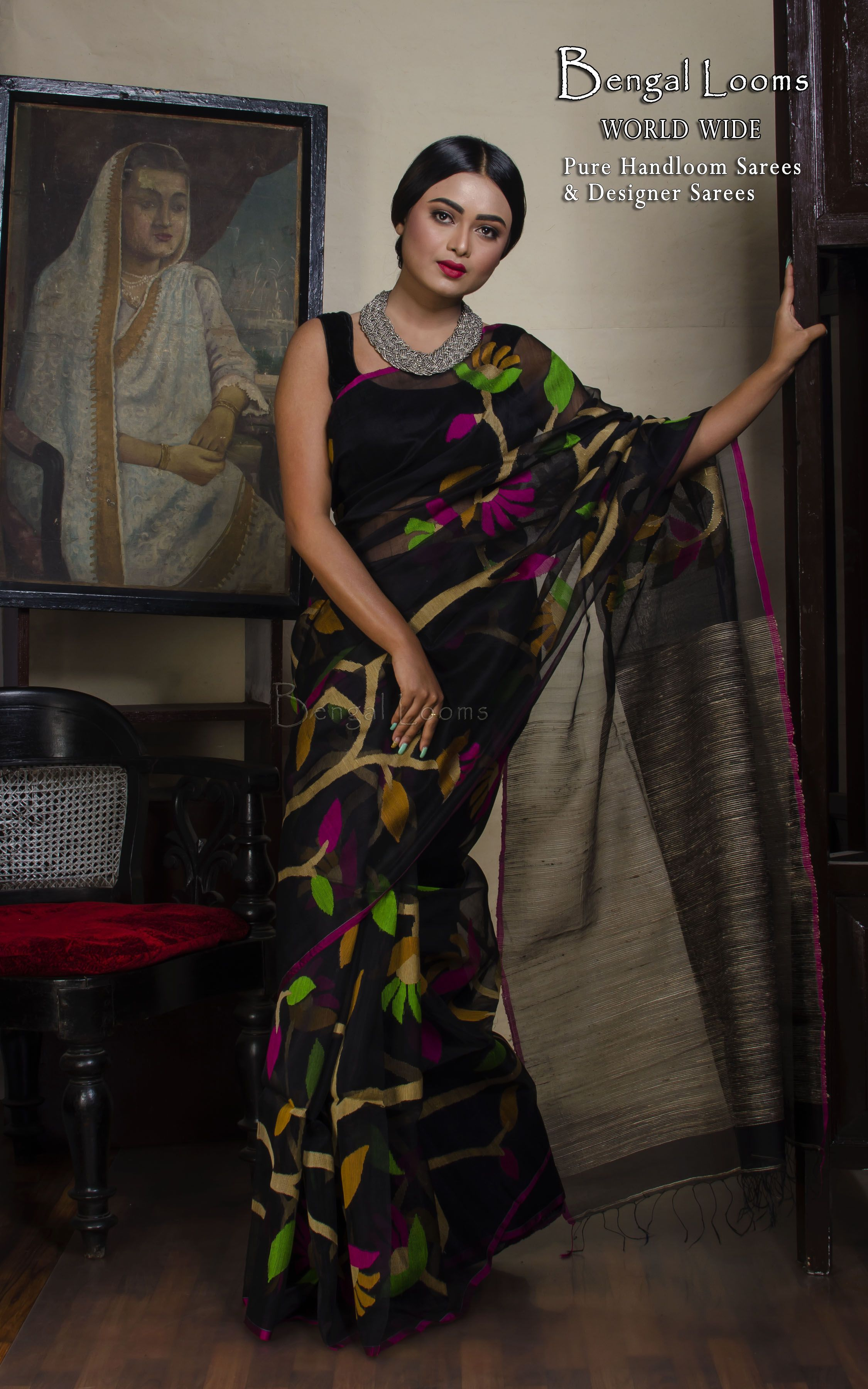 2defa7ce0de4e Pure handloom Muslin Silk Jamdani saree with all over body work Color  Black    Green   Rani   Beige Blouse Piece  Yes Fall Pico   Yes Care   Dry- Clean  Only