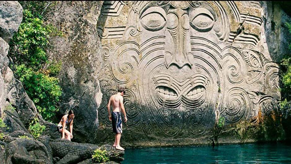 Mine bay maori rock carvings lake taupo new zealand