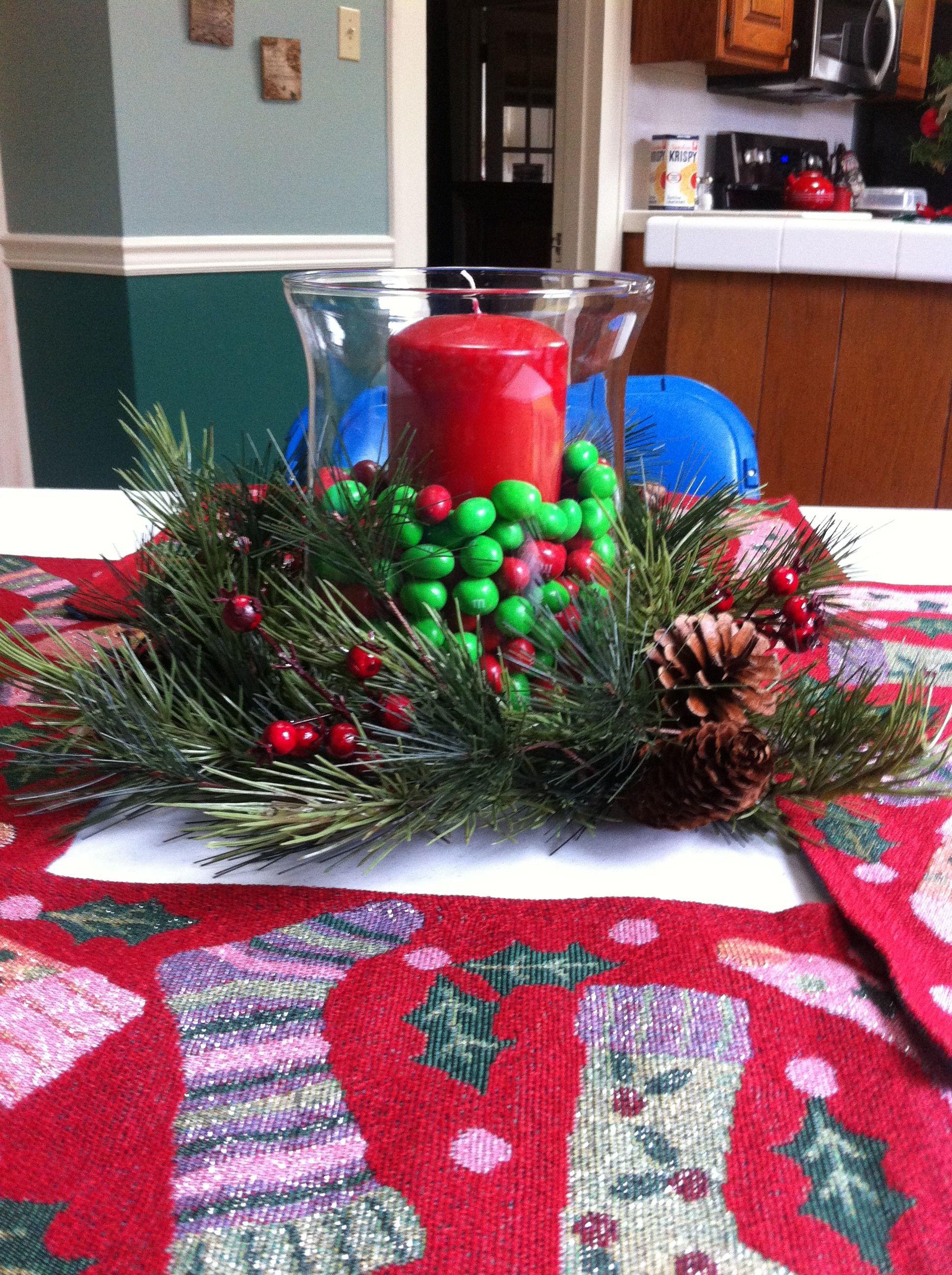 M Christmas candle centerpiece