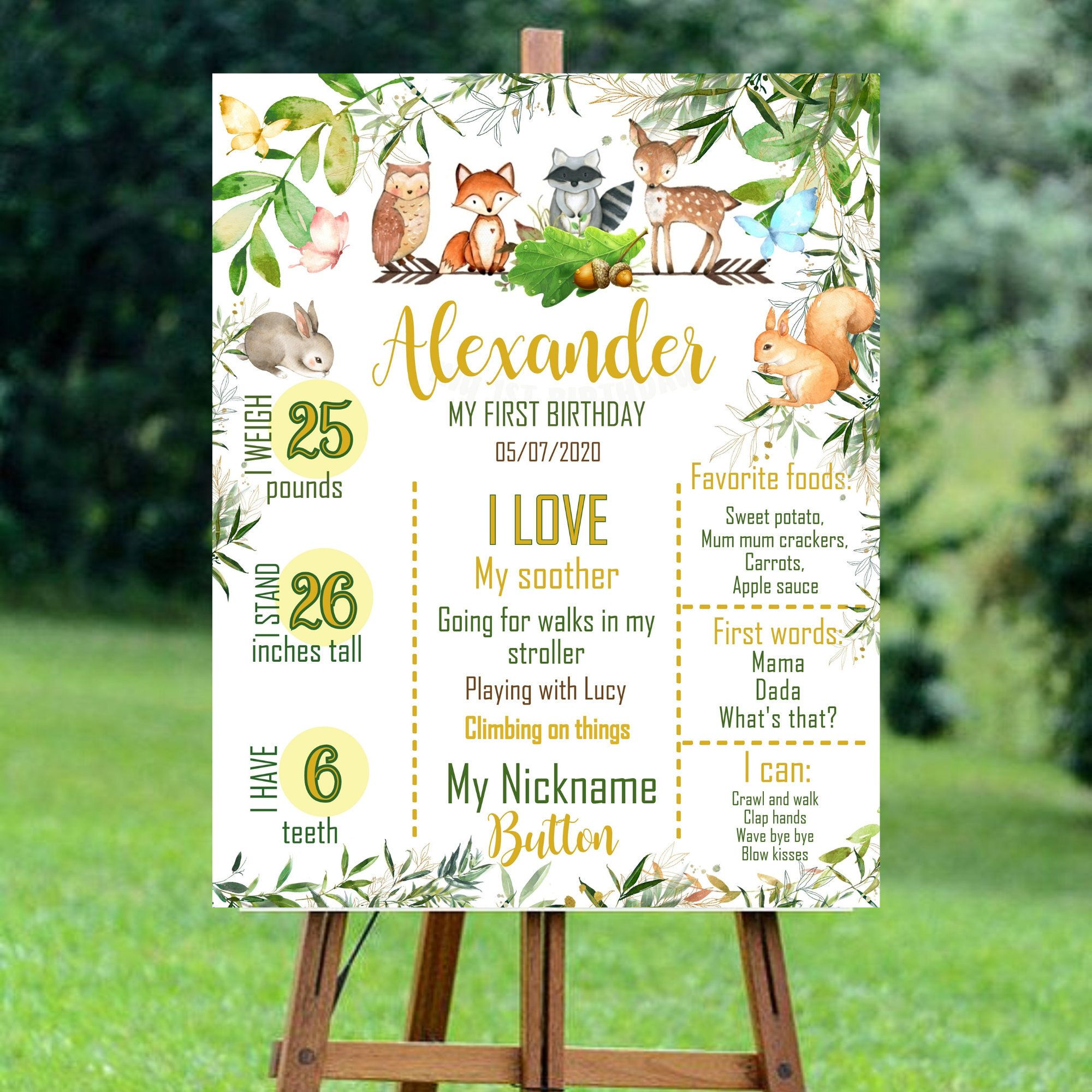Summer Woodland Animals Themed Chalkboard Milestones Personalized Printable Digital File Nature Forrest Outdoors Camping