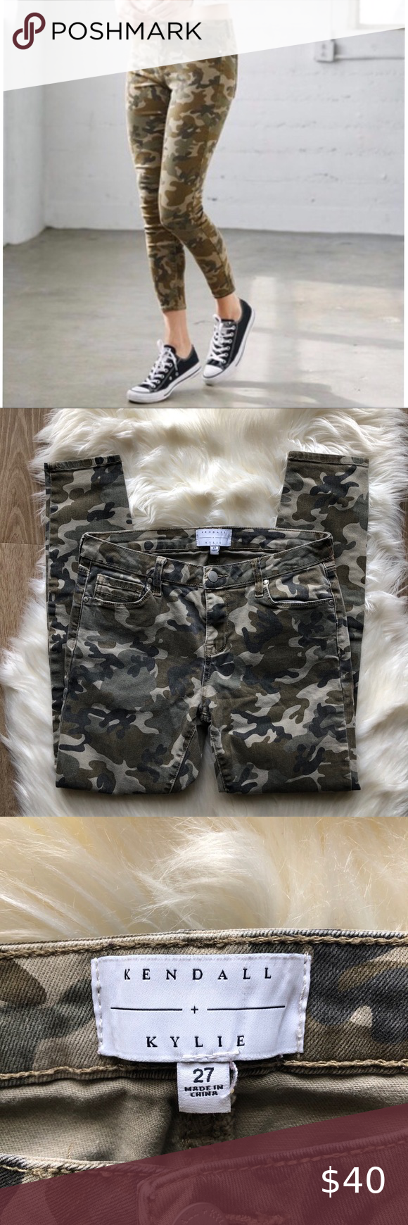 Kendall + Kylie • Camo Mid Rise Skinny