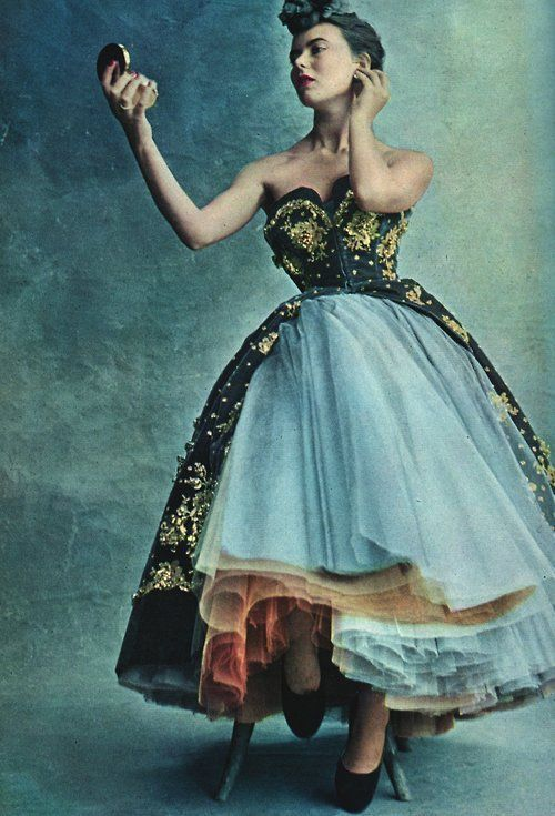 Model wearing an evening gown by Christian Dior, 1950. Photo by ...