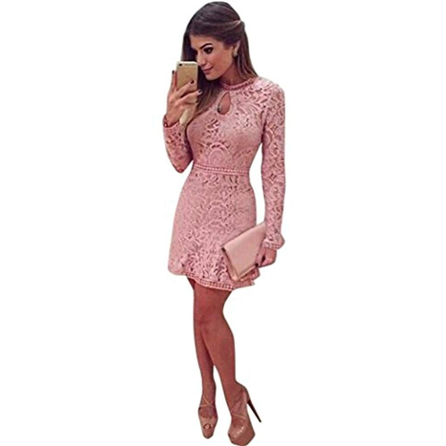 81697d8678c Women Sexy Pink Hollow Lace Long Sleeve Slim Party Prom Short Mini Dress --  Learn more by visiting the image link. (This is an affiliate link)  clothing