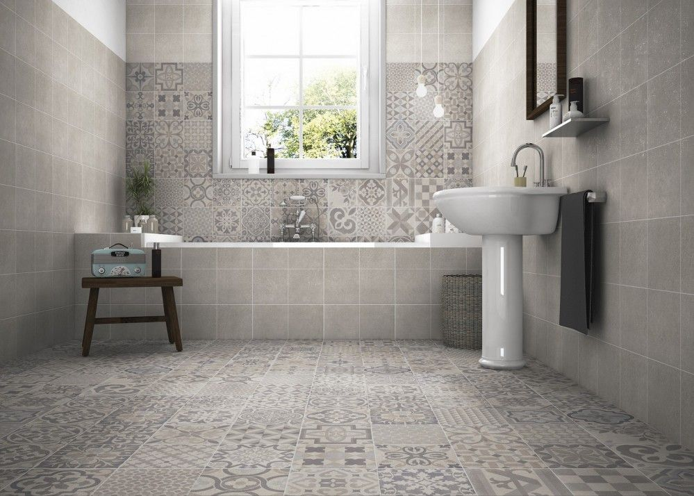 An Eclectic Design Of Warm Grey Patterns A Clever Mix Of Organic Vintage Patterns Alongside Grey Tile Bathroomsikea